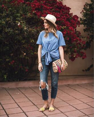 bag hat tumblr clutch top blue top tie-front top denim jeans blue jeans ripped jeans shoes mules