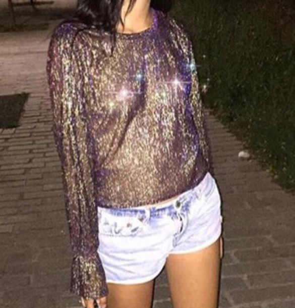 sweater see through see through blouse glitter shiny purple gold sparkle blouse light