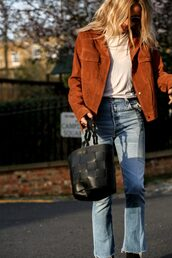 jacket,suede,tumblr,suede jacket,brown jacket,t-shirt,white t-shirt,bag,black bag,zara,denim,jeans,blue jeans,cropped bootcut jeans,cropped bootcut blue jeans