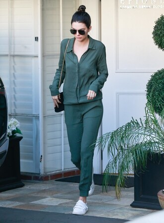 jumpsuit top pants blouse kendall jenner sneakers spring outfits model off-duty