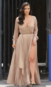 dress,maxi dress,kim kardashian,shoes,wrap dress,nude,yves saint laurent,keeping up with the kardashians,beige,all nude everything,beige dress