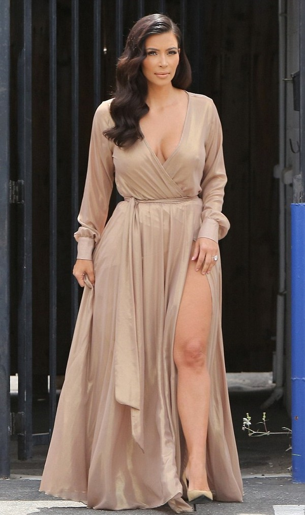 dress maxi dress kim kardashian shoes wrap dress nude yves saint laurent keeping up with the kardashians beige all nude everything beige dress nude dress long sleeve dress