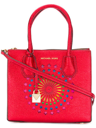women leather red bag