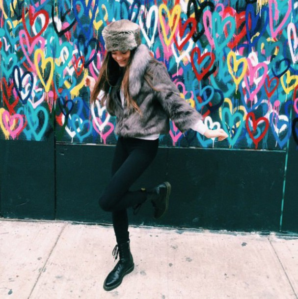 callies street chic blogger fur hat faux fur jacket black leggings hat jacket leggings shoes