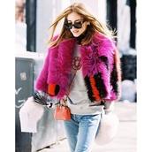 coat,faux fur,hot pink