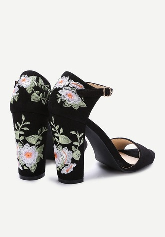 shoes black high heels embroidered flowers