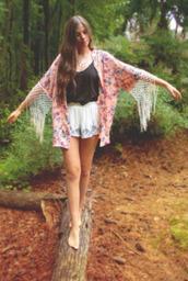 shorts,floral,kimono,fringes,floral kimono,floral fringe kimono,clothes,tanks,sweater