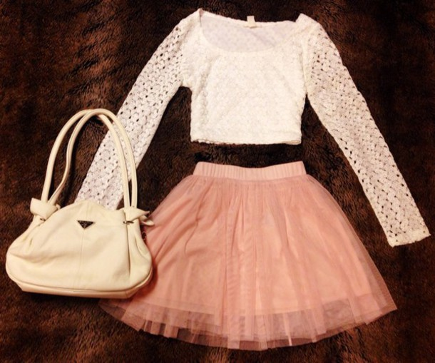 shirt white pink skirt white shirt pink skirt tulle skirt tulle skirt prada bag prada crop tops mesh lace forever 21 forever 21 cute outfit outfit cute outfits bag tulle skirt white lace blouse small purse