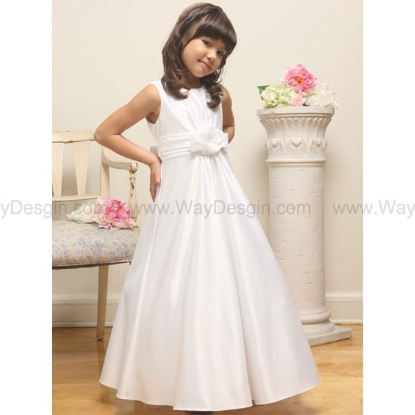 white flower girl dress flower girl dresses flower girl dress 2014 white satin a-line sleeveless dress