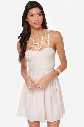 Cute Cream Dress - Cage Dress - Skater Dress - $49.00