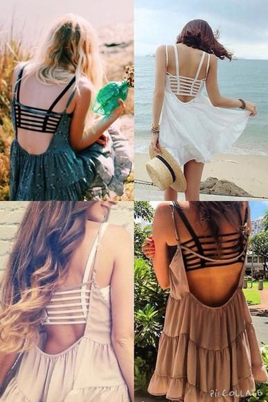 summer dress tiered short flowy spaghetti strap