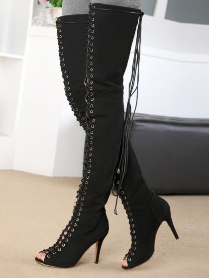 Black Suede Peep Toe Lace Up Over the Knee Boots