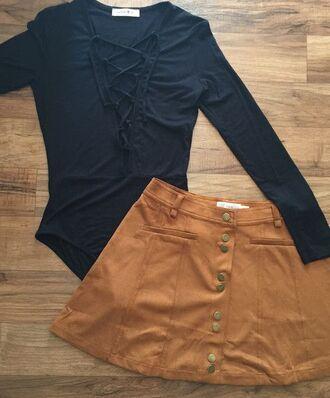 skirt camel suede skirt suede skirt mini skirt bodysuit black bodysuit lace up top
