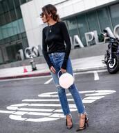 top,blouse,black blouse,skinny jeans,ripped jeans,pumps,slingbacks,handbag,sunglasses