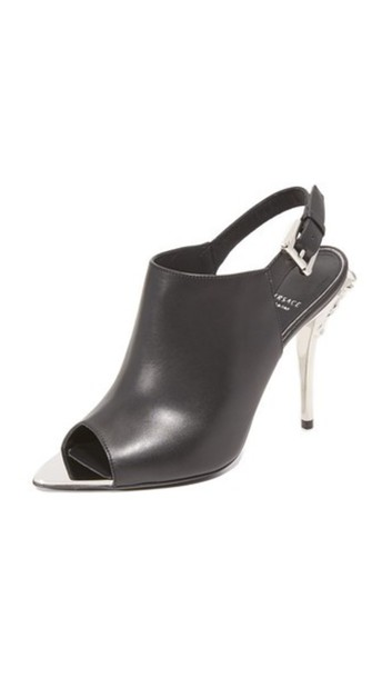 VERSACE heels silver leather black shoes