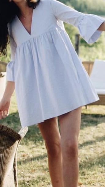 dress pastel bell sleeves vneck dress blue dress