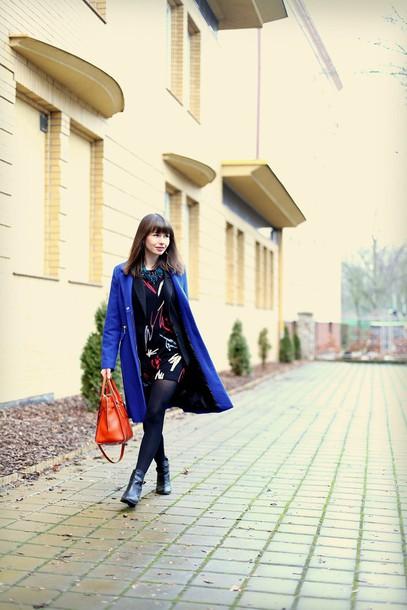 kapuczina blogger blue leather bag handbag print