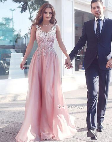 Custom made v neck pink lace long prom dress, pink evening dress - 24prom