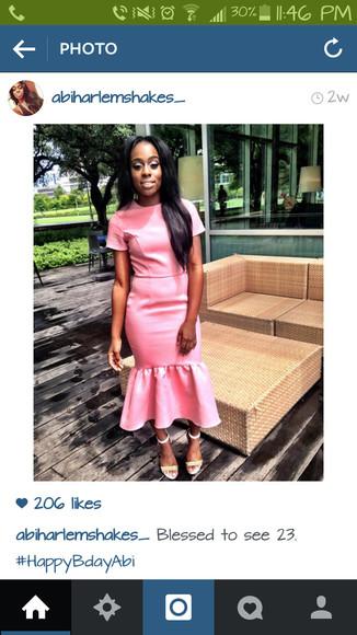pink dress peplum dress midi dress