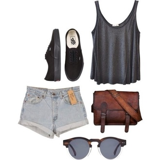 sunglasses brown charcoal tank top shorts shoes round shoulder bag bag vans shirt high waisted denim shorts brown hipster long strap bag purse t-shirt tumblr black outfit