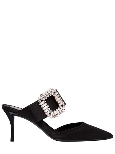 ROGER VIVIER, 65mm sin satin mule sandals, Black, Luisaviaroma