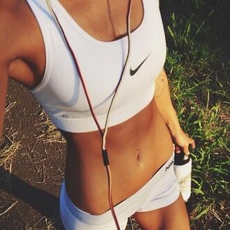 shorts nike sportswear sports bra top white top nike bra sportswear white black