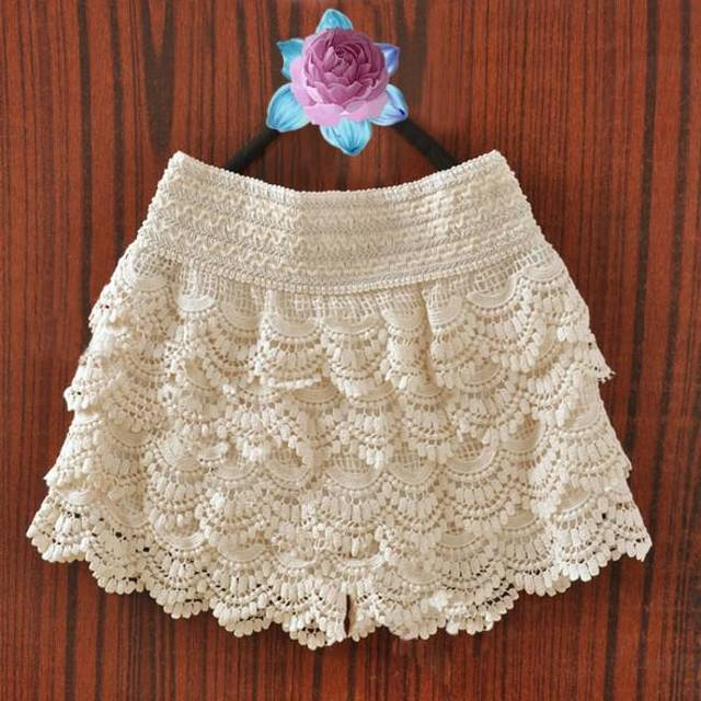 Korean Womens Sweet Cute Crochet Tiered Lace Shorts Skorts Short Pants Fashion | eBay