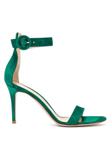 Gianvito Rossi - Portofino 85 Suede Sandals - Womens - Dark Green