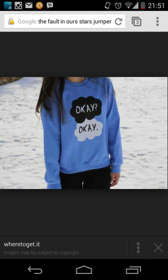 blue sweater tfios okay? okay.
