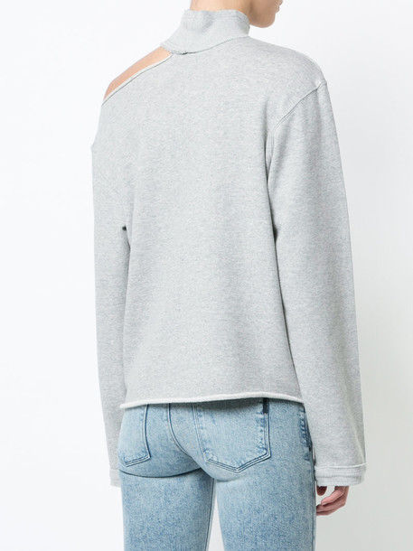 rta sweatshirt cut-out women cotton grey sweater