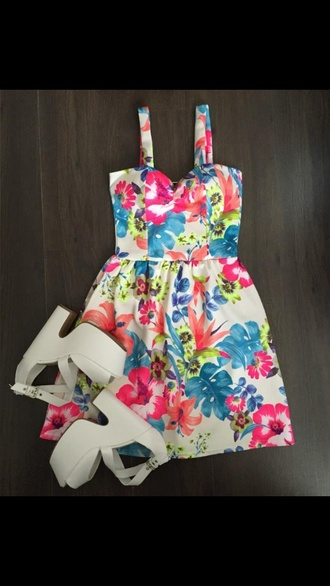 dress summer floral dress bright pattern