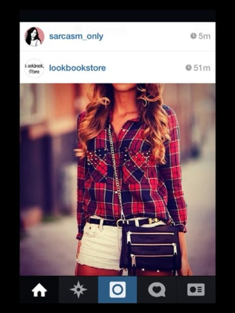 blouse red blue plaid  button up shirt