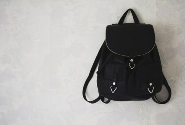 bag black leather backpack