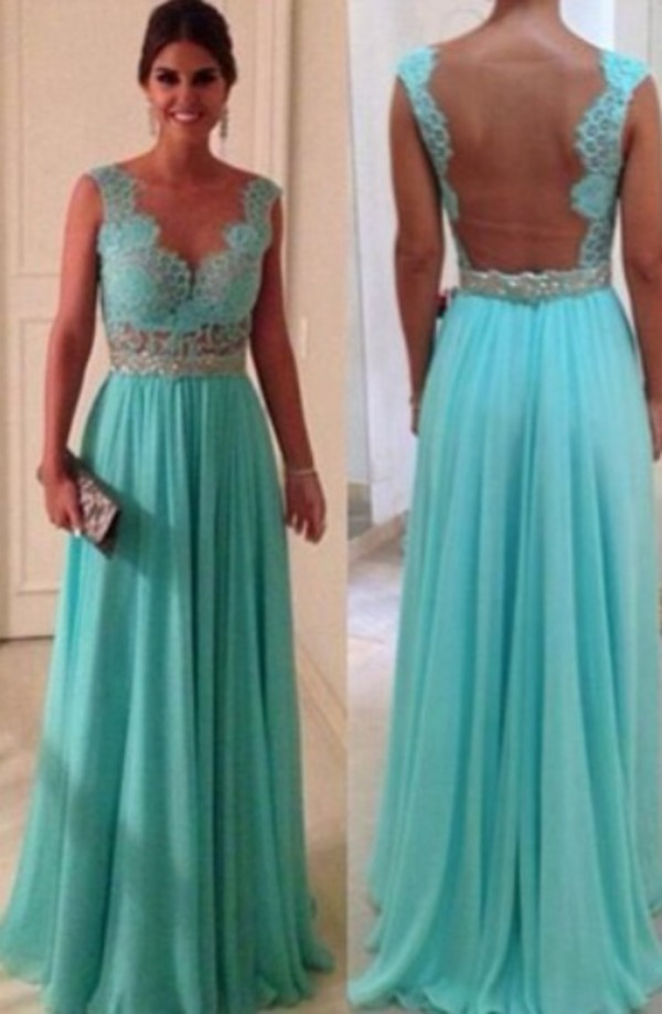 formal dress formal prom mint lace prom chiffon long dress