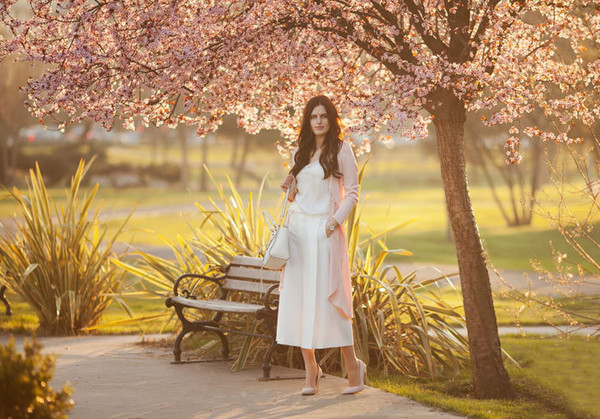 the bow-tie blogger coat pants top bag shoes pumps high heel pumps culottes white top spring outfits