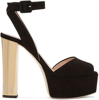 sandals platform sandals gold suede black black and gold shoes