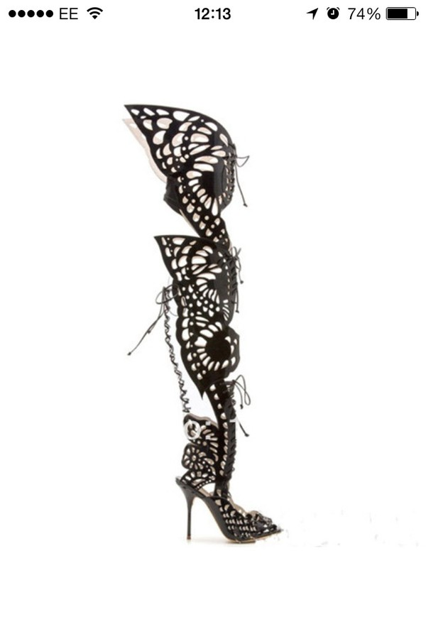 shoes black butterfly cut out boots