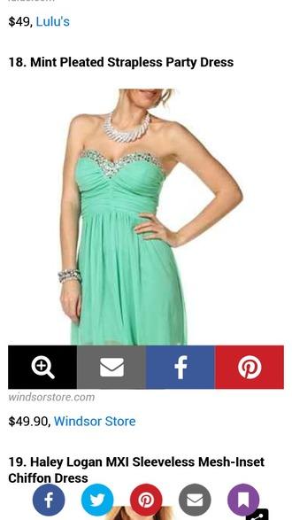 dress mint dress sparkle short prom dress strapless dress