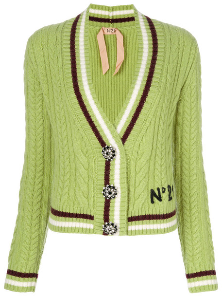 No21 cardigan cable knit cardigan cardigan women mohair wool knit green sweater