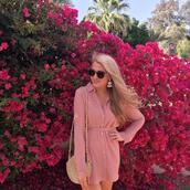 brightandbeautiful,blogger,dress,bag,jewels,sunglasses,shirt dress,pink dress,straw hat,spring outfits