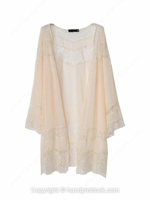 Beige Collarless Long Sleeve Lace Chiffon Coat - HandpickLook.com