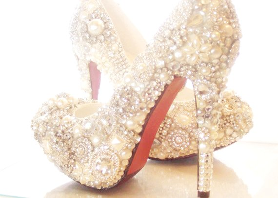 Crystal, Glass And Pearl Covered High Heels | high heels
