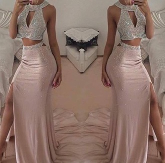 dress boutique maxi skirt and  topp mermaid prom dress floor length two-piece crystal cream prom prom dress rose gold two piece dress set prom gown silver dress formal dress long prom dress top skirt