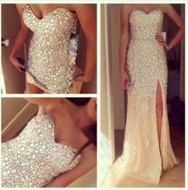 dress glitter dress gorgeous white dress bling nude, gold, diamond ...
