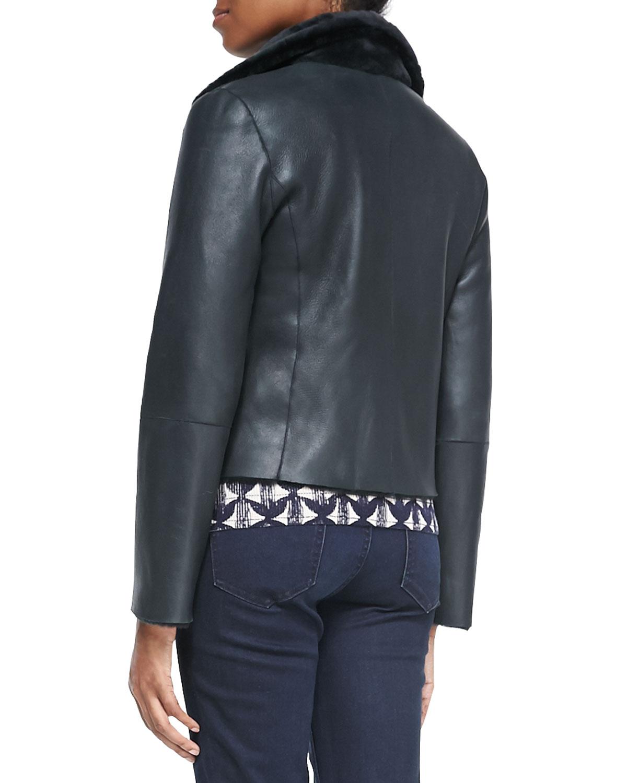 Tory Burch Caroline Lambskin/Shearling Jacket & Tia Printed Wool Sweater