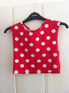 topshop red and white polka dot crop top sleeveless size 6 bnwt | eBay