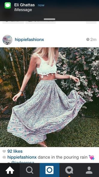 skirt gypsy boho bohemian dress crop tops crochet t-shirt shoes