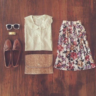 blouse loafers roses preppy polka dots skirt shoes