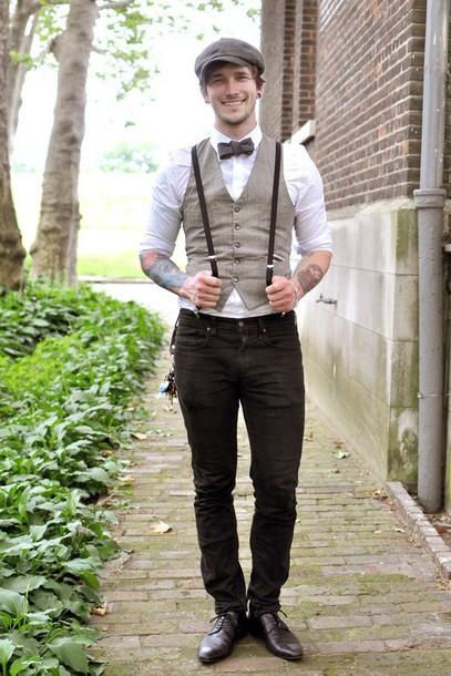 shirt grey suspenders bowtie prom button up vest