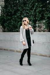 onesmallblonde,blogger,cardigan,shoes,tank top,jewels,jeans,sunglasses,sweater,grey cardigan,over the knee boots,thigh high boots,fall outfits